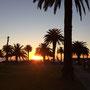Sonnenuntergang auf dem Weg zum Strand