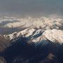 Die neuseeländischen Alpen - kurz vor dem Landeanflug in Queenstown