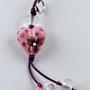 VERKAUFT! Rosa Herz mit pinkigen Pünktli und pinkiger Blume; Herz ca. 2 cm breit