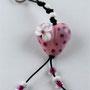 VERKAUFT! Rosa Herz mit pinkigen Pünktli und weisser Blume; Herz ca. 2 cm breit