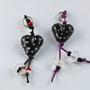 Schwarze Herzen mit weissen Pünktli; Herz je ca. 2 cm breit