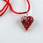 VERKAUFT! Rot mit weissen Pünktli und rosa Blüte an Silberanhänger; Herz ca. 2 cm breit