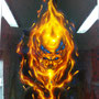 Fire Skull op alu plaat