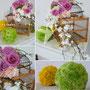 Centros de mesa, jaulas de pajaros con esferas llenas de colores vibrantes