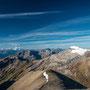 Aussicht vom Gipfel in Richtung Mont Blanc, La Fava und Diablerets