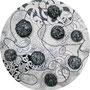 Rondell / besticktes Lineoleum mit Bleistift /Lack  / 30cm / 2010