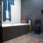 Der Kimono über der Badewanne als individuelles Wandbild.