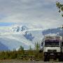 traumhafter Übernachtungsplatz mit Blick auf den Gates-, Kennicott- und Root Glacier