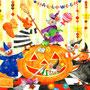 セイコーマート オリジナルカレンダー「Trick or treat! おばけにこうもり、色とりどりのお菓子がいっぱい。みんなでかぼちゃをくりぬいて、ちいさなたのしいハロウィンパーティー。おばけはちょっとこわいけど、みんなでいればへっちゃらさ!」
