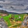 Blick vom Gipfel des Bindsteins zur gleichnamigen Mühle.