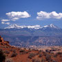 Blick auf die la Sal Mountains. Arches Nationalpark/Utah.