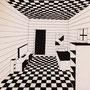 Zimmer in Einfluchtpunktperspektive