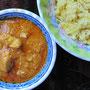 Indisches Chicken Korma mit Reis.