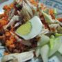 Surabayas Version von Nasi Goreng (9). Tomato Nasi Goreng unterscheidet sich lediglich durch den Zusatz von handelsüblichem Tomaten-Ketchup.