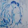 Nymphe - Methylenblau auf Papier - 40 x 30 cm