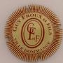 Marque : FROUX Guy & fils N° Lambert : 14 Couleur : Crème et marron striée Description : Initiales dans un ovale marron - nom de la marque  Emplacement :