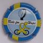 Marque : COURTY - LEROY N° Lambert : 27c Couleur : Fond bleu ciel, cycliste jaune Description : Ride for Hope. Drapeau suédois et nom de la marque sur contour   Emplacement :