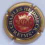 Marque : HEIDSIECK Charles N° Lambert : 57 Couleur : Centre rouge - contour or Description : Initiales dans armoiries  Emplacement :