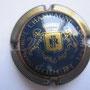 Marque :  ROBERT Jean-Pierre N° Lambert : 1 Couleur :  Bleu et or, striée Description : Lettres RJP dans un blason couronné et soutenu par deux lions  Emplacement : 094-04-01
