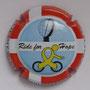 Marque : COURTY - LEROY N° Lambert : 27g Couleur : Fond bleu ciel, cycliste jaune Description : Ride for Hope. Drapeau danois et nom de la marque sur contour   Emplacement :