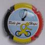 Marque : COURTY - LEROY N° Lambert : 27a Couleur : Fond bleu ciel, cycliste jaune Description : Ride for Hope. Drapeau belge et nom de la marque sur contour   Emplacement :