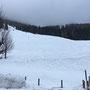 Rückblick auf den Abstiegsweg von der Bosruckhütte aus gesehen.