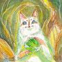 07/31/ ★『 星猫 』 ---使用*マルチライナー茶0.05、透明水彩、白ペン