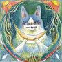 10/25/ ☆『 月猫 』 ---使用*ランプライト水彩紙、マルチライナー青0.05、透明水彩、白ペン