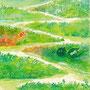 04/08/ ☆『 忘却の地 』 ---使用*マルチライナー緑0.05、透明水彩、白ペン