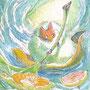 07/31/ ☆『 出発進行! 』 ---使用*マルチライナー青0.05、透明水彩、白ペン