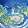 07/30/ ☆『 夜猫 』 ---使用*マルチライナー青0.05、透明水彩、白ペン
