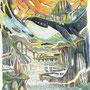 08/31/ ☆『 夕暮れ空の旅 』 ---夏風とおくへ飛んでいく----使用*ランプライト水彩紙、STAEDTLER pigment liner0.05、透明水彩、白ペン