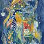 07/23/ ☆『 地底樹海 』 ---使用*アルシュ水彩紙、マルチライナー青0.05、透明水彩、白ペン、赤ワイン