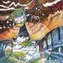 "09/03/ ☆『 Spirit of the beginning 』 ---始まりの精霊-----Order展.ミニ原画コラボ企画""ラドライドの双眼鏡""出品作) 使用*ORAWING PEN0.05、透明水彩、白ペン"