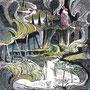 05/08/ 『 潮流 』 ---大地の記憶No.03_ 使用:STAEDTLER pigment liner0.05、透明水彩、赤ワイン、白ペン