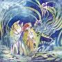 01/05/☆『 夢猫 』 夢をみてるのはだれ?---使用*マルチライナー紫0.05、透明水彩、アクリル白、白ペン