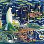 02/28/☆『 水面の底で 』 ---深くふかいこの場所で--- 使用:マルチライナー緑/青/赤/茶0.05、透明水彩、白ペン