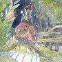 """09/03/ ☆『 小さき者 』 ---Order展.ミニ原画コラボ企画""""ラドライドの双眼鏡""""出品作-----使用*ORAWING PEN0.05、透明水彩、白ペン"""