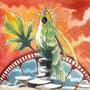 06/18/ ☆『 時渡り 』 ---使用:マルチライナー赤0.05、STAEDTLER pigment liner0.05、透明水彩、白ペン