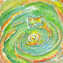 07/30/ 『 朝猫 』 ---使用*マルチライナー緑0.05、透明水彩、白ペン