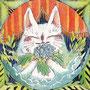 10/24/ ☆『 雨猫 』 ---使用*ランプライト水彩紙、ORAWING PEN0.05、透明水彩、白ペン