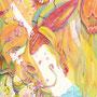 01/17/ ☆『 大丈夫だよ 』 ---泣き虫なあの子 今日もたくさん頑張った彼女に 僕らは優しくやさしく声をかけるんだ----使用*ヴィフアール紙、マルチライナー桜0.05、透明水彩、コピック、白ペン