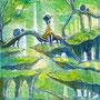 07/30/ ☆『 時雨 』 ---使用*マルチライナー青0.05、透明水彩、白ペン