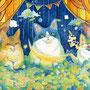 03/19『 真夜中の晩餐会 』--- 願いを伝える星猫に 想いを吹き込む月猫と 夢を運ぶ雲猫の 月に一度の晩餐会 --- アルシュ水彩紙、透明水彩、珈琲、赤ワイン、ミリペン