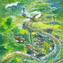 07/30/ ☆『時雨』 ---使用*マルチライナー青0.05、透明水彩、白ペン