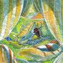 07/30/ ☆『 夢心地 』 ---使用*マルチライナー青0.05、透明水彩、白ペン