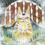 01/05/『 幸猫 』 ---使用:STAEDTLER pigment liner0.05、透明水彩、アクリル白、白ペン