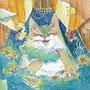 03/31/ ☆『 雲猫 』 ---使用*マルチライナー青0.05、透明水彩、白ペン