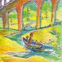 08/30/ 『 旅路 』 ---使用*マルチライナー赤0.05、透明水彩、白ペン