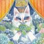 06/27/ ☆『 雨猫 』 ---使用*マルチライナー青0.05、透明水彩、白ペン